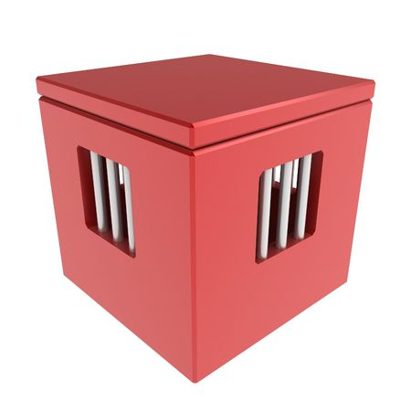 insides: 3d box with barred windows, over white, isolated