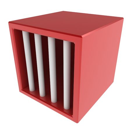 confine: Red 3d cage, over white, isolated