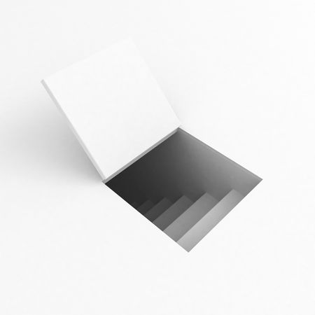 descend: Square 3d trapdoor, over white, isolated Stock Photo