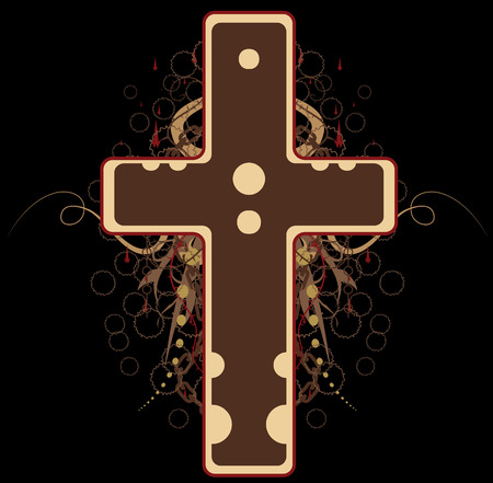 Emblem cross design element, brown Vector