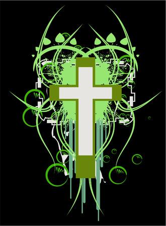 Emblem green cross design element Vector