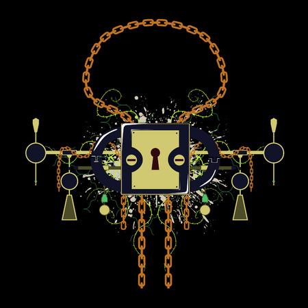 enclosed: Colored grunge padlock emblem design Illustration