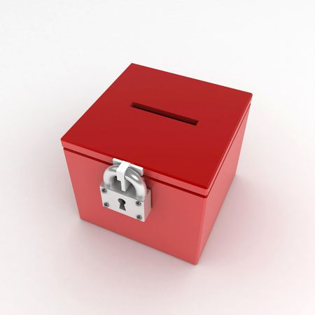 meaningful: 3d Ballot Box, over white surface Stock Photo