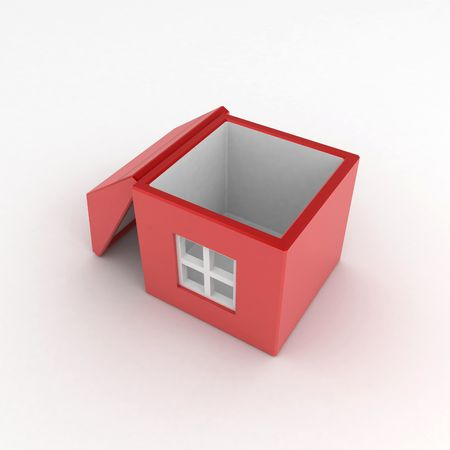 insides: House Box, over white surface Stock Photo