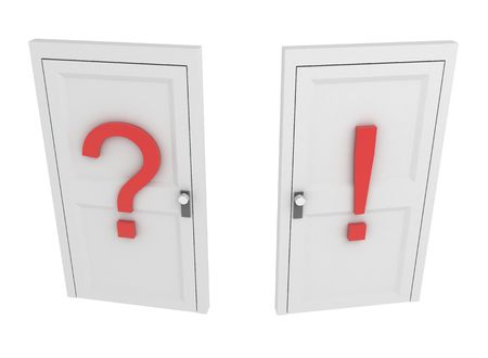 Question Door, over white, isolated photo