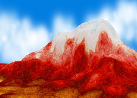 Red Mountain, 3d background, horizontal photo