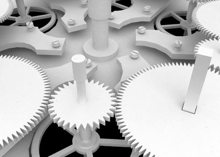 White Clockwork, white 3d, horizontal photo