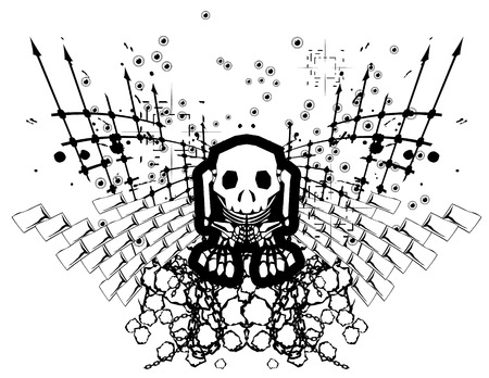 Black and white skeleton design, elements separate Stock Vector - 3238181