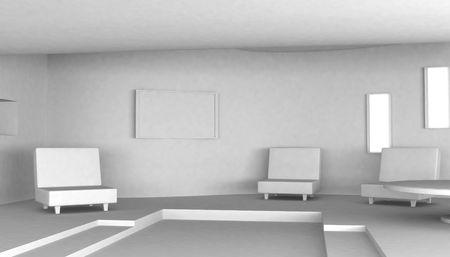 White living room Interior, 3d, horizontal