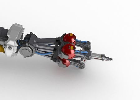3d robotic hand, over white, isolated photo