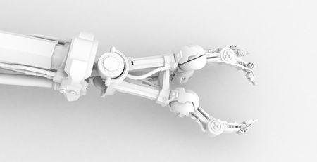 mano robotica: 3d rob�tico lado, a lo largo de color blanco, aisladas  Foto de archivo
