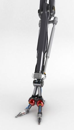 3d robotic arm, vertical on a surface photo