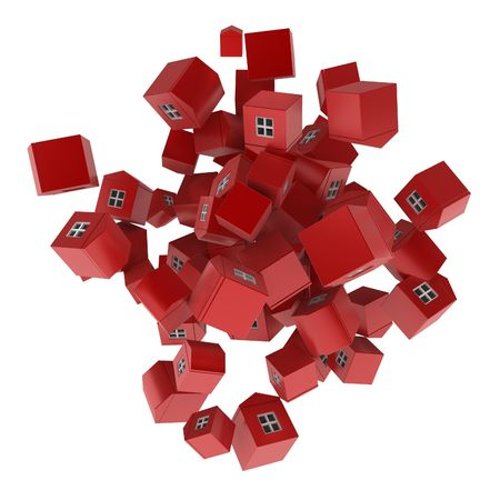 owning: Many red 3d houses, isolated