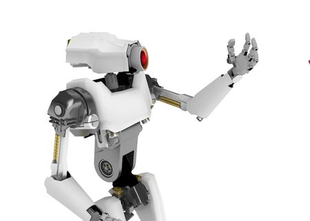 3d robotic figure, over white, isolated photo