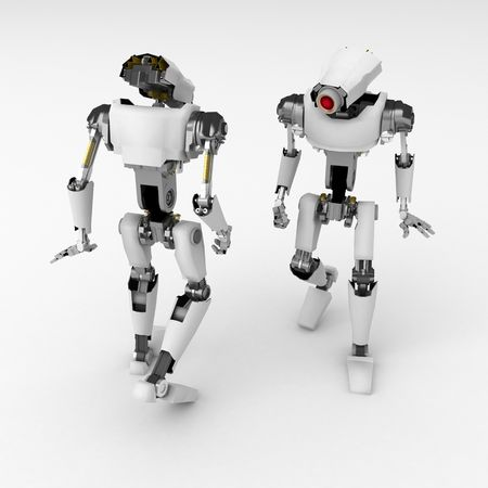 mechanical back: 3d robotic figures, over white, isolated