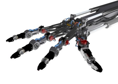 robotic: 3d robotic hand, over white, isolated