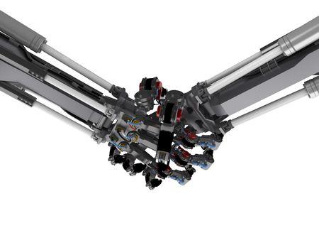 2 3d robotic arm handshake photo