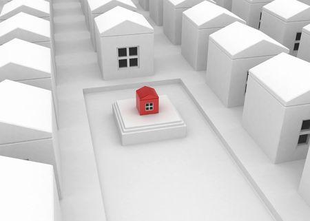 distinguish: Small red 3d house, horizontal Stock Photo