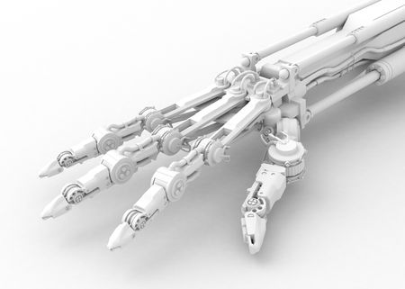 wrist joint: 3d robotic hand, over white, isolated