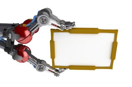 mano robotica: 3d rob�tico parte, m�s de blanco, aislado Foto de archivo