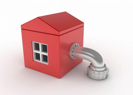 Red 3d house with a pipe, isolated Stock Photo - 3264455