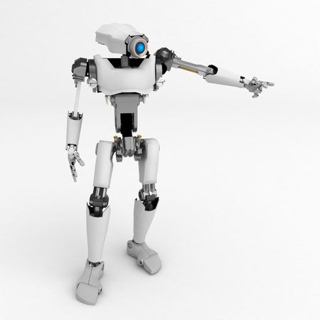 3d robotic figure, over white, isolated Stock Photo - 3264457