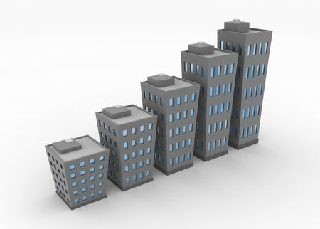 real state: City building chart, 3d, isolated