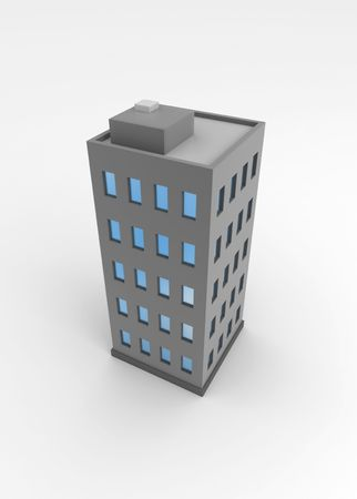 population growth: Single city building, 3d, isolated Stock Photo