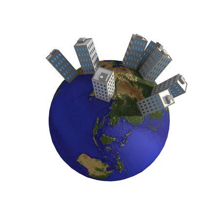 3d globe with cartoon buildings on top photo