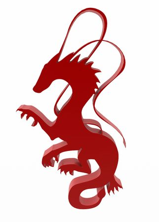 3d dragon: Red 3d dragon sign, over white, isolated
