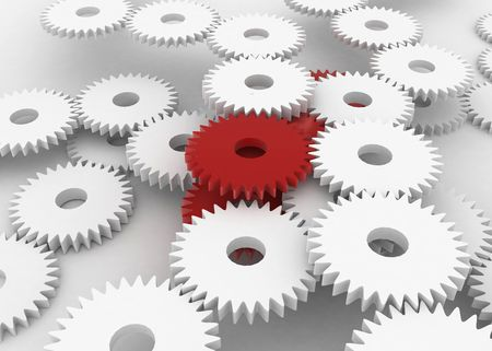 distinguish: Mass of 3d gears, horizontal, red and white Stock Photo
