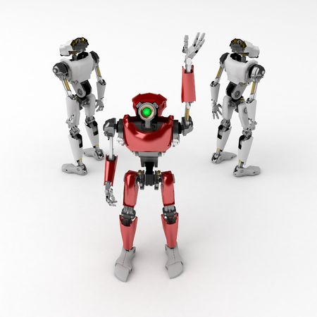 3d robotic figures, over white, isolated photo