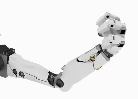 mano robotica: 3d brazo rob�tico, m�s blanco, aislado Foto de archivo