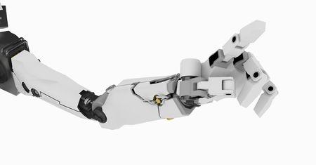 mano robotica: 3d brazo rob�tico, a lo largo de color blanco, aisladas