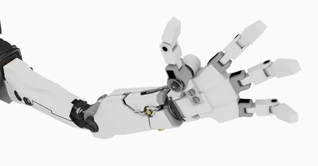 3d robotic arm, over white, isolated photo