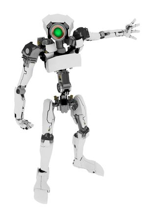 Slim 3d robotic figure, over white, isolated Stock Photo - 3320423