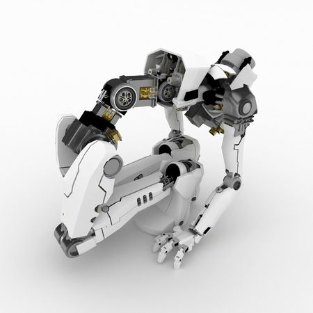 Slim 3d robotic figure, over white, isolated Stock Photo - 3320443