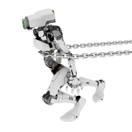 Slim 3d robotic figure, over white, isolated Stock Photo - 3320435