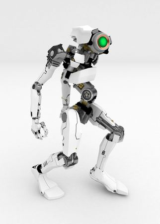 Slim 3d robotic figure, over white, isolated Stock Photo - 3320444