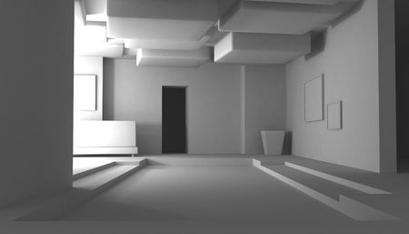 Abstract 3d room Interior, white, horizontal photo