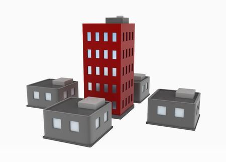size: 5 cartoon 3d buildings, over white, isolated
