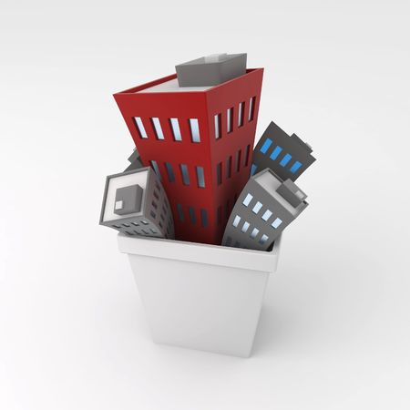 Cartoon Building Bin, over white, isolated Stock Photo - 3466678