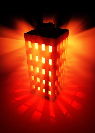 emanate: Red 3d building flash, vertical