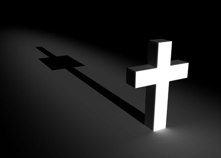 superstitions: Lighted 3d Cross, dark background Stock Photo