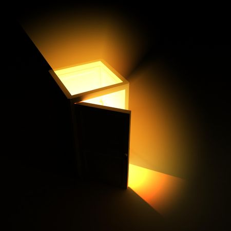 Opening 3d Door Light, isolated photo