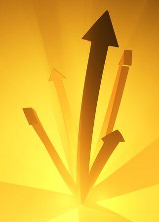 Illuminated Orange 3d Arrows, vertical Stock Photo - 3466650