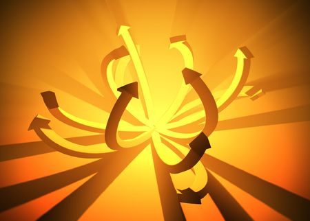 emanate: Illuminated Orange 3d Arrows, horizontal