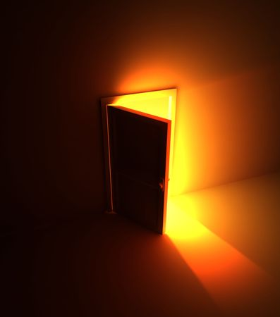 salir puerta: Apertura de puertas 3d Luz, plaza  Foto de archivo