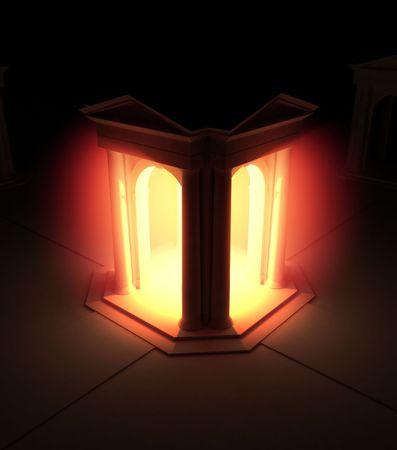 portico: Red 3d Portico Illumination, vertical