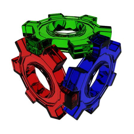 3d Glass Gear Cube, isolated photo
